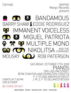 flyer ~ Carnival ~ clinyc ~ 2009-10-17 ~ sputnyc