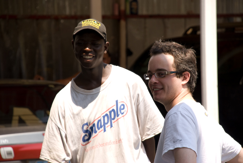photo ~ Philip with car wash employee ~ 2008-06-29 ~ Carnival ~ sputnyc
