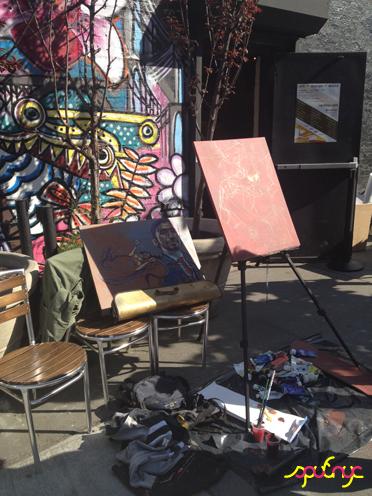 photo ~ live art by Marthalicia Matarrita ~ Gabrielle Archer ~ 2012-05-19 ~ sputnyc presents clinyc art * design * music with Manyc Records ~ sputnyc