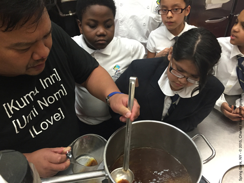 photo ~ Chef King Phojanakong (Kuma Inn, Umi Nom, The Bronx Greenmarket Hot Sauce) teaching Chicken Wing Adobo ~ Chanez Baali ~ 2015-02-27 ~ Spring Bank presents Healthy Hearts ~ sputnyc