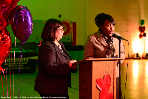 photo ~ Board of Trustees Vice-President Wanda Torres and FLACS I Principal Debra Friday ~ Heriberto Sanchez ~ 2015-02-27 ~ Spring Bank presents Healthy Hearts ~ sputnyc