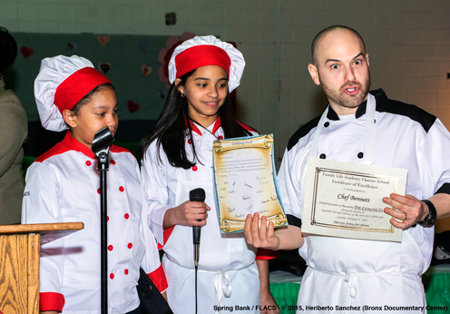 photo ~ Chef Bennett receives his own teaching certificate from his students! ~ Heriberto Sanchez ~ 2015-02-27 ~ Spring Bank presents Healthy Hearts ~ sputnyc