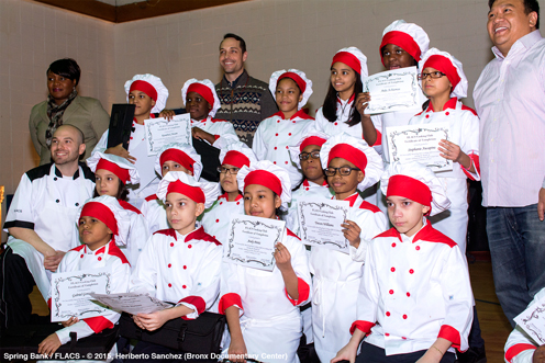 photo ~ the graduating class with Debra Friday, George Carney, and Chef King Phojanakong ~ Heriberto Sanchez ~ 2015-02-27 ~ Spring Bank presents Healthy Hearts ~ sputnyc
