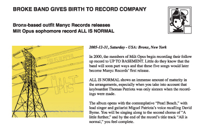 press release ~ Broke band gives birth to record company ~ us ~ 2005-12-31 ~ sputnyc