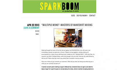 article ~ Multiple Mono: Masters of makeshift mixing ~ Collin Richardson ~ 2014-04-22 ~ Sparkboom ~ sputnyc
