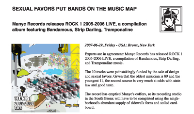 press release ~ Sexual favors put bands on the music map ~ us ~ 2007-06-29 ~ sputnyc