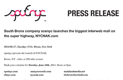 press release ~ South Bronx company scenyc launches the biggest interweb mall on the super highway, NYCNAK.com ~ us ~ 2014-06-17 ~ sputnyc