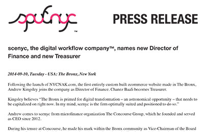 press release ~ scenyc, the digital workflow company™, names new Director of Finance and new Treasurer ~ us ~ 2014-09-10 ~ sputnyc